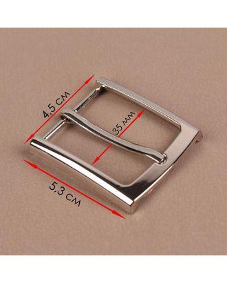Пряжка для ремня, 5,3 × 4,5 см, 35 мм, цвет серебряный арт. СМЛ-123322-1-СМЛ0005094960