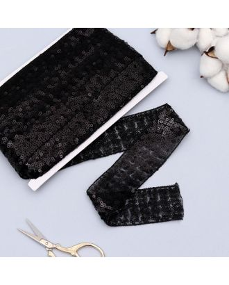 Лента декоративная с пайетками, 2 см, 10 ± 1 м, цвет чёрный арт. СМЛ-118855-2-СМЛ0005096791