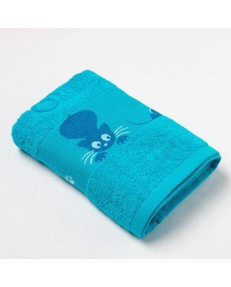 Полотенце махровое с бодюром «Кошки» цвет бирюзовый, 30х60см арт. СМЛ-35537-2-СМЛ0005099669