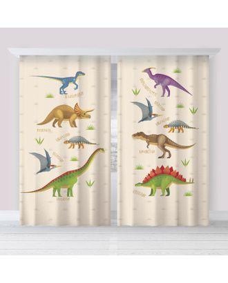 """Комплект штор """"Этель"""" Динозавры 145*260 см-2 шт, 100% п/э, 140 г/м2 арт. СМЛ-107840-1-СМЛ0005111659"""