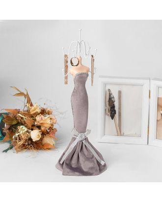 """Подставка для урашений """"Силуэт девушки в платье"""", h=38, цвет серый арт. СМЛ-116330-1-СМЛ0005111731"""