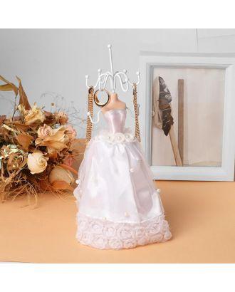 """Подставка для урашений """"Силуэт девушки в платье"""" свадьба, h=26,5, цвет белый арт. СМЛ-116332-1-СМЛ0005111733"""