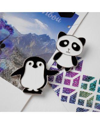 """Набор значков (2шт) """"Панда и пингвин"""", цвет чёрно-белый в золоте арт. СМЛ-122787-1-СМЛ0005114753"""