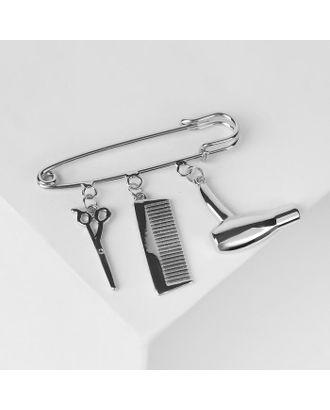 """Булавка с подвесками """"Парикмахер"""", 5,5см, цвет серебро арт. СМЛ-125065-1-СМЛ0005114758"""