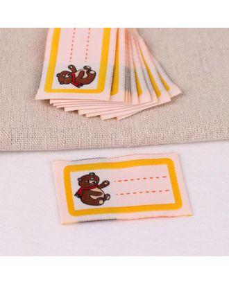 Нашивка «Мишка», 5,5 × 3,2 см, 10 шт, цвет жёлтый арт. СМЛ-123325-1-СМЛ0005116321