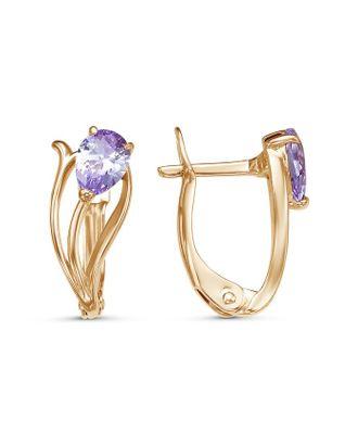 """Серьги """"Цветок"""" тюльпан, позолота, цвет фиолетовый арт. СМЛ-124932-1-СМЛ0005121431"""