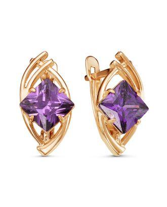 """Серьги """"Эллипс"""" со вставкой, позолота, цвет фиолетовый арт. СМЛ-124935-1-СМЛ0005121509"""