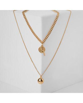 """Кулон тройной """"Цепь"""" сталь, шар, цвет золото, 78 см арт. СМЛ-123151-1-СМЛ0005132061"""