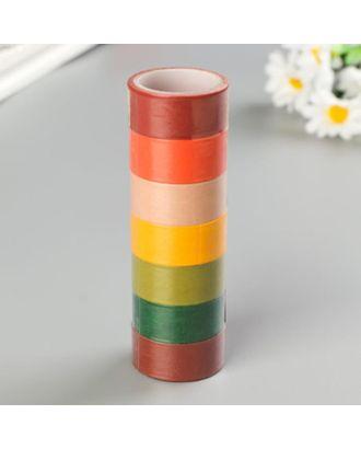 """Клейкие WASHI-ленты д/декора """"ИНТЕНСИВ"""", 7 тёпл цветов,15 мм х 3 м (набор 7шт)рисовая бумага арт. СМЛ-38180-1-СМЛ0005132673"""