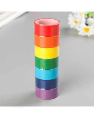Клейкие WASHI-ленты для декора РАДУЖНЫЕ, однотонные, 15 мм х 3 м (набор 7 шт) рисовая бумага арт. СМЛ-38184-1-СМЛ0005132677