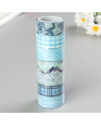Клейкие WASHI-ленты для декора ОТТЕНКИ СИНЕГО, 15 мм х 3 м (набор 7шт) рисовая бумага арт. СМЛ-38185-1-СМЛ0005132678
