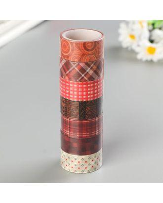 Клейкие WASHI-ленты для декора ОТТЕНКИ КРАСНОГО, 15 мм х 3 м (набор 7 шт) рисовая бумага арт. СМЛ-105925-1-СМЛ0005132680