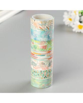 """Клейкие WASHI-ленты для декора """"Микс №1"""", 15 мм х 3 м (набор 7 шт) рисовая бумага арт. СМЛ-105926-1-СМЛ0005132684"""