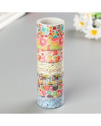 """Клейкие WASHI-ленты для декора """"Микс №2"""", 15 мм х 3 м (набор 7 шт) рисовая бумага арт. СМЛ-112918-1-СМЛ0005132685"""