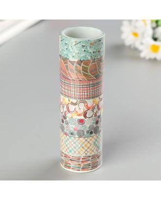 """Клейкие WASHI-ленты для декора """"Микс №3"""", 15 мм х 3 м (набор 7 шт) рисовая бумага арт. СМЛ-119334-1-СМЛ0005132686"""