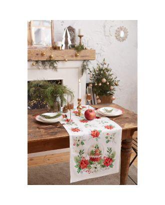 "Дорожка на стол ""Christmas red flowers"" 40*147 см, 100% хл, саржа 190гр/м2 арт. СМЛ-38738-1-СМЛ0005135203"