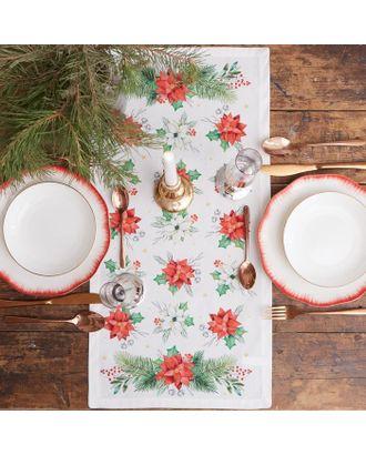"""Дорожка на стол """"Этель"""" Christmas red flowers 30х70 см, 100% хл, саржа 190 гр/м2 арт. СМЛ-38917-1-СМЛ0005135213"""