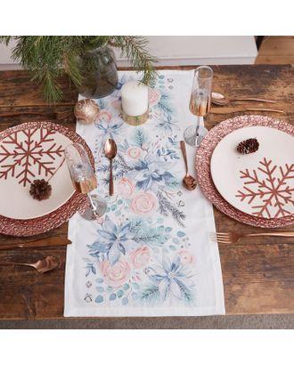 """Дорожка на стол """"Этель"""" Christmas flowers 30х70 см, 100% хл, саржа 190 гр/м2 арт. СМЛ-38921-1-СМЛ0005135217"""