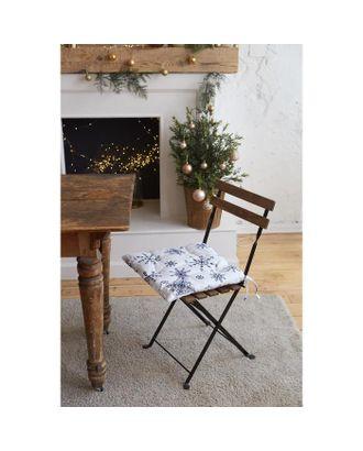 "Сидушка на стул ""Синие снежинки"" 42х42х7 см, 100% хлопок, 164 г/м2 арт. СМЛ-38744-1-СМЛ0005135291"