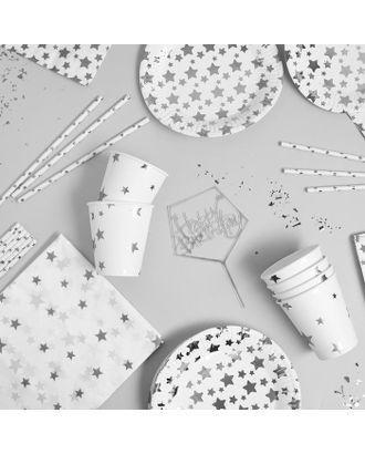 """Набор посуды """"С Днём Рождения"""" серебрянные звёзды арт. СМЛ-115382-1-СМЛ0005142351"""