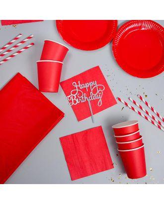 """Набор посуды """"С Днём Рождения"""" цвет красный арт. СМЛ-115383-1-СМЛ0005142352"""