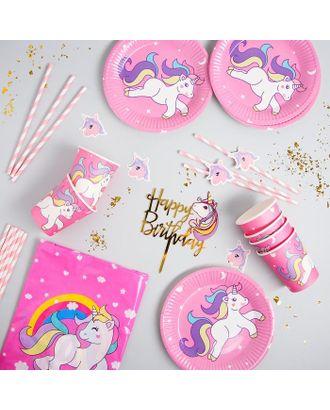 """Набор посуды """"С Днём Рождения"""" единорог, цвет розовый арт. СМЛ-115376-1-СМЛ0005142354"""