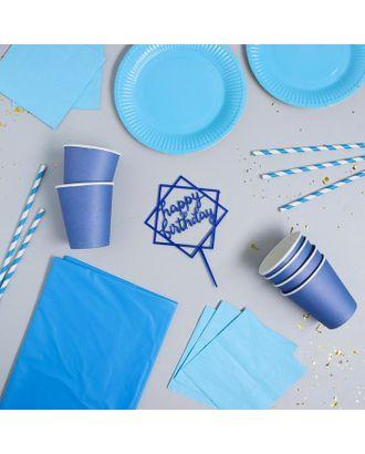 """Набор посуды """"С Днём Рождения"""" цвет голубой арт. СМЛ-115385-1-СМЛ0005142359"""