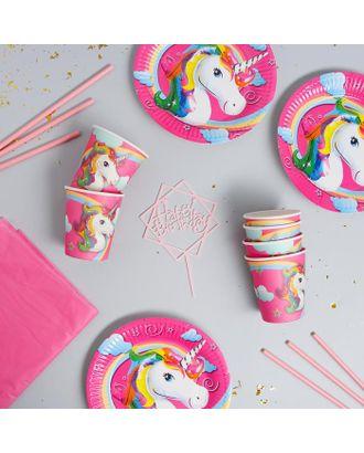 """Набор посуды """"С Днём Рождения"""" единорог, цвет розовый арт. СМЛ-115386-1-СМЛ0005142360"""