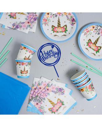 """Набор посуды """"С Днём Рождения"""" единорожка, цвет голубой арт. СМЛ-115387-1-СМЛ0005142362"""