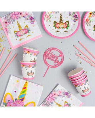"""Набор посуды """"С Днём Рождения"""" единорожка, цвет розовый арт. СМЛ-115388-1-СМЛ0005142363"""