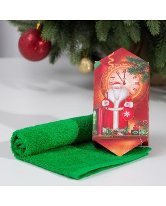 """Полотенце махровое """"Новый год"""" 30х30 см, 100 хл 340г/м2 арт. СМЛ-116031-1-СМЛ0005147972"""