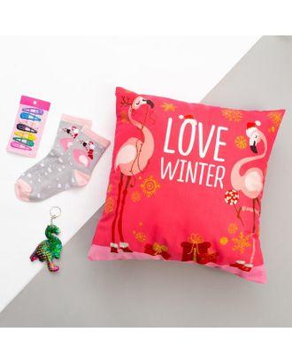 """Набор подарочный """"Love winter"""" подушка-секрет 40х40 см аксессуары (3 шт) арт. СМЛ-116740-1-СМЛ0005155032"""