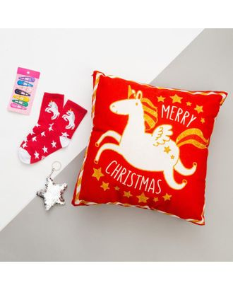 """Набор подарочный """"Unicorn"""" подушка-секрет 40х40 см аксессуары (3 шт) арт. СМЛ-116741-1-СМЛ0005155033"""