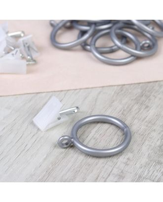 Набор для штор, кольца и крючки, 10 шт, цвет серебристый арт. СМЛ-38950-1-СМЛ0005162262