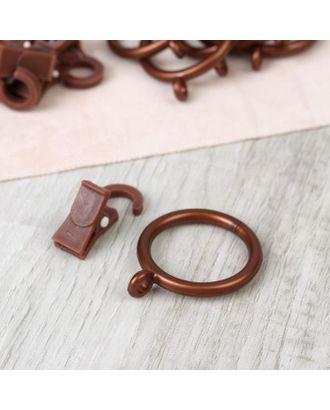 Набор для штор, кольца и крючки, 10 шт, цвет коричневый арт. СМЛ-112969-1-СМЛ0005162264