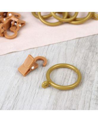 Набор для штор, кольца и крючки, 10 шт, цвет золотистый арт. СМЛ-38951-1-СМЛ0005162265