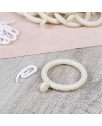 Набор для штор, кольца и крючки, 10 шт, цвет белый арт. СМЛ-38952-1-СМЛ0005162266