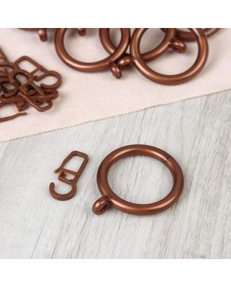 Набор для штор, кольца и крючки, 10 шт, цвет бронзовый арт. СМЛ-112970-1-СМЛ0005162267