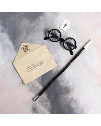 Карнавальный набор «Волшебник Гарри» очки, палочка, тату, письмо арт. СМЛ-123595-1-СМЛ0005169381