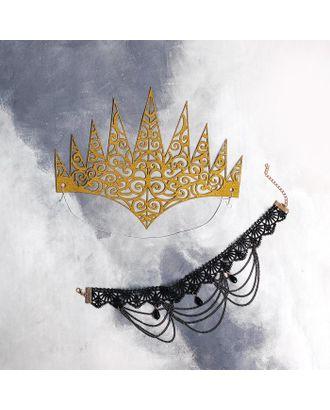 """Карнавальный набор """"Королева ночи""""  чокер, диадема арт. СМЛ-124377-1-СМЛ0005169386"""