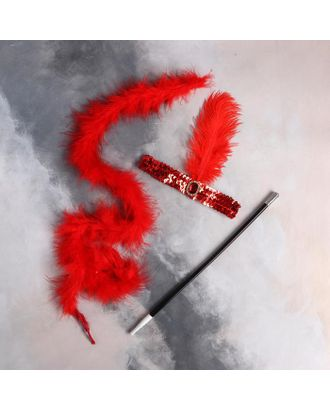 Карнавальный набор «Огненная красотка» повязка на голову, боа, мундштук арт. СМЛ-123600-1-СМЛ0005169394