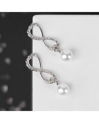 """Серьги с жемчугом """"Кристалл"""" бесконечность, цвет белый в серебре арт. СМЛ-123697-1-СМЛ0005178959"""