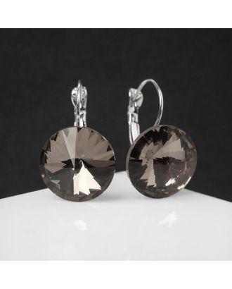 """Серьги со стразами """"Яркая классика"""", цвет серый в серебре, d=1,6 см арт. СМЛ-125685-1-СМЛ0005178961"""
