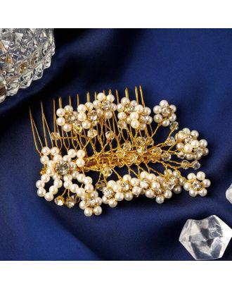"""Гребень для волос """"Жасмин"""" жемчуг, 7х5,5 см, золото арт. СМЛ-125086-1-СМЛ0005179603"""