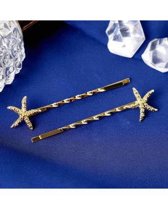 """Невидимка для волос """"Зара"""" (набор 2 шт) 6 см морские звёзды, золото арт. СМЛ-112093-1-СМЛ0005179620"""