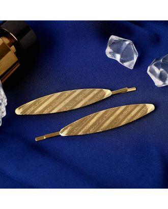 """Невидимка для волос """"Либерти"""" (набор 2 шт) 7,5 см полосы, золото арт. СМЛ-112097-1-СМЛ0005179624"""