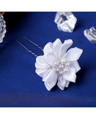 """Шпилька для волос """"Жемчужный цветок"""" 3,5х6,5 см арт. СМЛ-109383-1-СМЛ0005179660"""