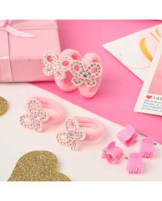"""Набор для волос """"Розовый перелив"""" (4 резинки, 4 краба) бабочки арт. СМЛ-117861-1-СМЛ0005181157"""