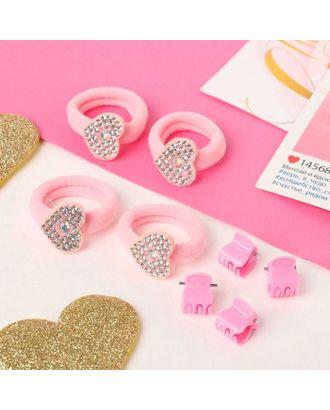 """Набор для волос """"Розовый перелив"""" (4 резинки, 4 краба) бабочки арт. СМЛ-117861-2-СМЛ0005181158"""