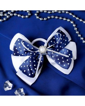 """Резинка для волос бант """"Школьница"""" 11,5 см цветок и горошек, бело-синий арт. СМЛ-109418-1-СМЛ0005181222"""